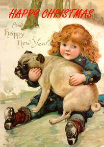 PUG WITH GIRL ON ICE SINGLE DOG PRINT GREETING CHRISTMAS CARD