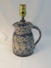 Unique Vtg Stoneware Cobalt Blue Sponge Ware Lidded Carafe or Pitcher Table Lamp