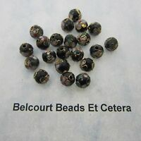 50 - Black Cloisonne Loose Beads - Size  8mm Shape:  Round Gold Trim with Floral