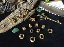Brass Dreadlock Beads Mix 14 x Tribal Style 5-6mm Hole Ethnic Carved & Dotwork