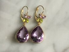 14K SOLID YELLOW GOLD DROP DANGLE EARRINGS GENUINE AMETHYST STONES EXCELLENT