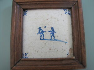 Antique Blue & White Delft Framed Tile - Two boys playing Ball