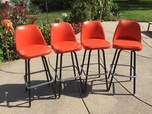 Set of 4 Vintage Orange MCM Douglas Furniture Corp Swivel Bar Stools Chairs