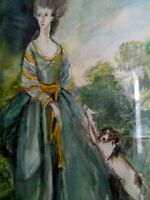 Original artwork watercolour copy of Gainsborough oil painting Lady with dog.