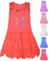 Girls Summer Sequin Dress Kids Sleeveless Party Dresses New Age 2 - 10 Years
