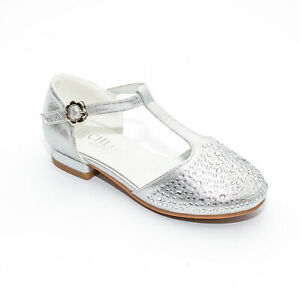 Chloe. P Silver Girls Party Shoes- Special Occasion, Flowergirl, Formal, Wedding