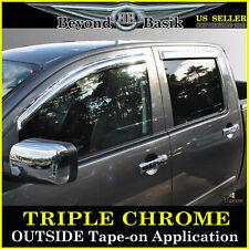 Fits 2004-2015 Nissan Titan CREW 4PC Chrome Door Vent Window Visor Rain Guards