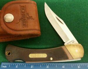 Schrade USA Old Timer 6OT Lockback knife,  sawcut delrin handles, leather sheath