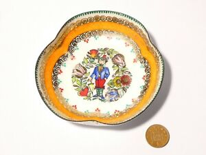 Vintage Pretty Austrian Hand Made Enamel Dish with Hand Painted Figure Signed HM