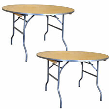 """(2x) Commercial 48"""" Round Folding Table Event Party Banquet Wooden Dining Table"""
