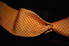 LNWOT Brioni Hand Made in Italy Melon Orange Diamond Neat Layout Silk Tie NR