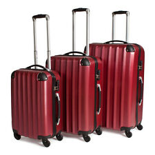 Tectake 400718 Wheeled Trolleys Suitcases - Set of 3, Red Wine