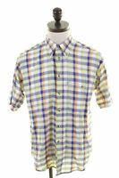 FILA Mens Shirt Short Sleeve Medium Multi Check Cotton  JI20