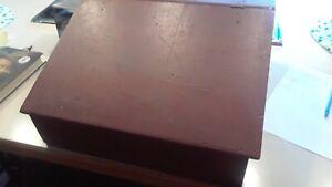 Antique Slant Lid Lap Desk, Old Barn Red, Divided interior