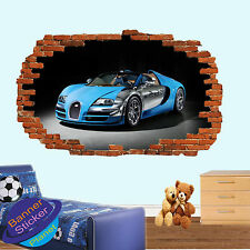 SPORT CARS BUGATTI 3D SMASHED WALL STICKERS BOYS ROOM DECORATION DECALS MURALS