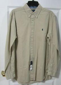 NWT Ralph Lauren Men's Long Sleeve Khaki Button Down Shirt Size M