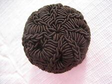 "Modern Large 1-5/16"" Dark Brown Polyester Crochet Fabric Dome Button - B33"