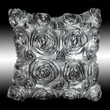 "GREY 3D RAISED RIBBON ROSES FAUX SILK DECO THROW PILLOW CASE CUSHION COVER 16"""
