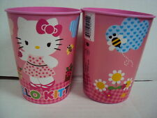 HELLO KITTY 2 x REUSABLE PLASTIC CUPS 16oz BPA FREE MADE IN USA NEW