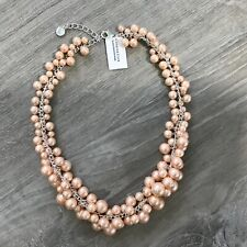 Charter Club Silver Tone Pink Imitation Pearl Cluster Collar Necklace