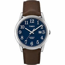 Timex TW2P75900, Men's Easy Reader Leather Watch, Indiglo, Date, TW2P759009J