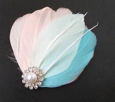 Blush Pink Mint Green Blue Silver White Feather Fascinator Hair Clip Bridal 116