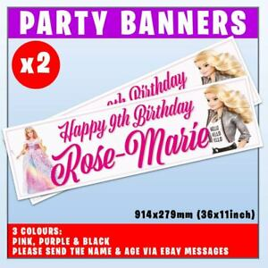 """2x PERSONALISED BARBIE BANNERS BIRTHDAY PARTY - ANY NAME, ANY AGE, 36x11"""""""