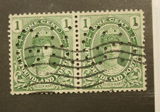 "2 NEWFOUNDLAND LARGE PERFIN ""G.K."" ONE CENT STAMP - USED"