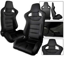 1 PAIR Black Cloth Racing Seats RECLINABLE W/ SLIDERS ALL BMW A