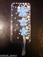 3D The Flowers Baby Blue Swarovski Crystal Bling Case Handmade iPhone 5 5S Cover