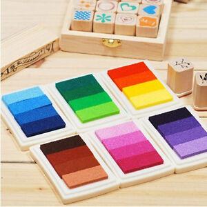 DIY 6 Colors Gradient Ink Pad Vivid Craft Cardmaking Scrapbooking Rubber Stamps