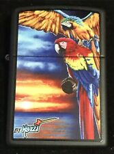 """Zippo by Mazzi """"PARROT"""" Printed Lighter on Black Matte finish, New"""
