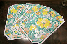 PLACEMATS, 4 one-sided yellow/green floral pattern 17.5 x 11.25""