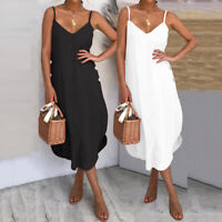 Summer Women Ladies Strappy Sleeveless Cami Party Beach Midi Sun Dress Size 8-26