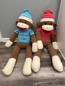 "Dan Dee Sock Monkey Plush Jumbo Striped Shirt Hat 48""Stuffed Pillow 2 Boy & Girl"