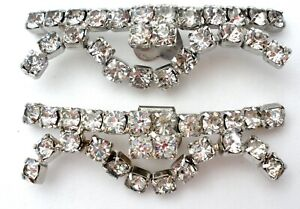 Vintage Shoe Clips with Clear Rhinestone Wedding Flower Jewelry Silver