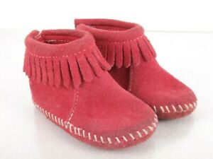 Minnetonka Leather Fringed Booties Girls Toddler Size 4 Pink White Stitch