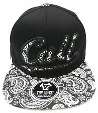 CALI Snapback Cap Hat California Republic Black White Paisley Flat Bill OSFM NWT