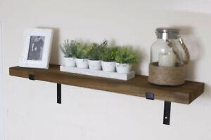 Large Wooden Wall Shelf 100/140cm Rustic Floating Industrial Storage Display