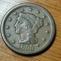 1853 Braided Hair Large Cent -