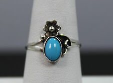Sterling Silver and Turquoise Ring With Flower