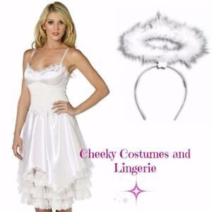 Angel Dress and Halo White Fancy Dress Costume Christmas Xmas Sz 12-14