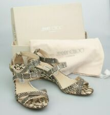 Boxed JIMMY CHOO London 'CONNOR' Beige Python Wedge Sandals 39.5 Euro 5 UK Italy