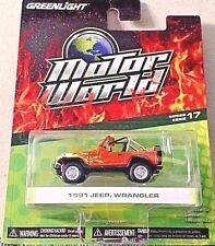 GREENLIGHT 2017 1/64 MOTOR WORLD SERIES 17 ORANGE W/FLAMES 1981 JEEP WRANGLER