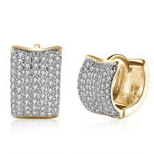 """18K Gold Plated Pave Hoop Earrings 1.4"""" with Swarovski Crystals ITALY"""