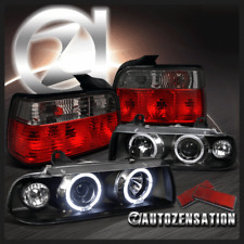 92-98 E36 3-Series Coupe Black Halo Projector Headlights+Red Smoke Tail Lamps