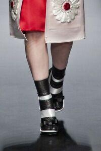 PRADA S/S 2013 RUNWAY Black Leather Toe Socks Booties Shoes IT37/US6.5