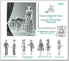 #173 KNIT & CROCHET Doll Wardrobe Pattern & Tea Set Made For Vintage Barbie