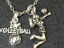 "Volleyball Player Spiking the Ball Charm Tibetan Silver 18"" Necklace BIN"