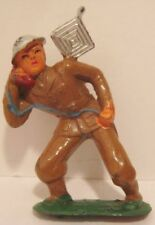 Old Barclay Lead Military Soldier w/ Field Phone & Antenna - Cast Helmet